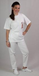 Majica Mako z gumbi, kratek rokav - bela