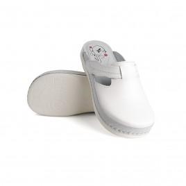 Anatomska obutev - natikač Flower, bel