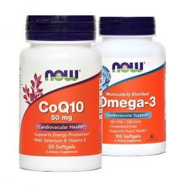 Now, koencim Q10, 50 mg + gratis omega 3, 1000 mg