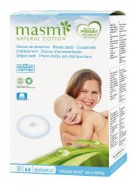 Prsne blazinice za dojenje Masmi iz certificiranega org. bombaža, 30 komadov