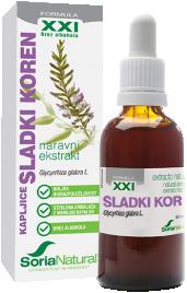 Soria Natural, sladki koren XXI kapljice brez alkohola, 50 ml