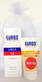 Eubos darilni paket 5% Urea šampon + GRATIS blagi negovalni šampon, 150 ml