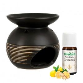 Komplet RJAV enodelni izparilnik keramika s svečko in naravnim eteričnim oljem ZIMSKA SVEŽINA, 10 ml