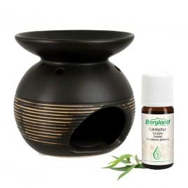 Komplet RJAV enodelni izparilnik keramika s svečko in naravnim eteričnim oljem EVKALIPT, 10 ml