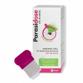 Parasidose kremni gel odstranjevanje uši in gnid 200 ml + glavnik + kapa