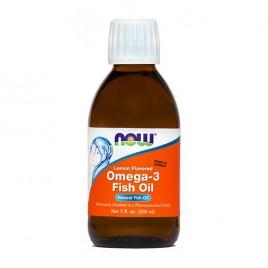 Now, omega 3 - ribje olje, okus limone, 200 ml