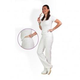 Bele ženske hlače z zadrgo