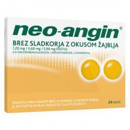 Neo-angin brez sladkorja z okusom žajblja 1,20 mg/0,60 mg/5,90 mg pastile, 24 pastil