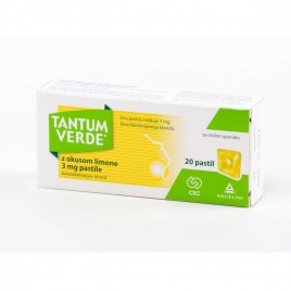 Tantum Verde z okusom limone 3 mg pastile, 20 pastil