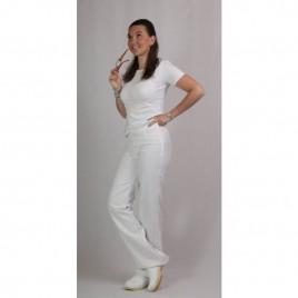Bele ženske hlače na elastiko in zadrgo