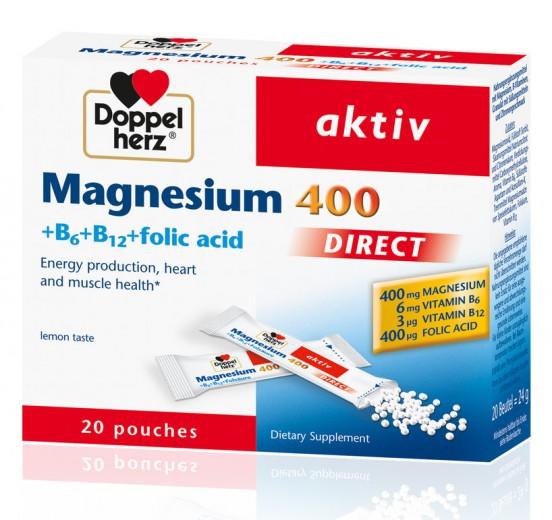 Doppelherz aktiv, magnezij direkt, 400 mg, 20 vrečk