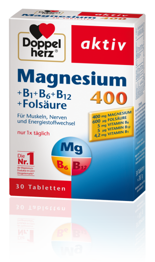 Doppelherz aktiv, magnezij + B1 + B6 + B12 + folna kislina, 400 mg, 30 tablet