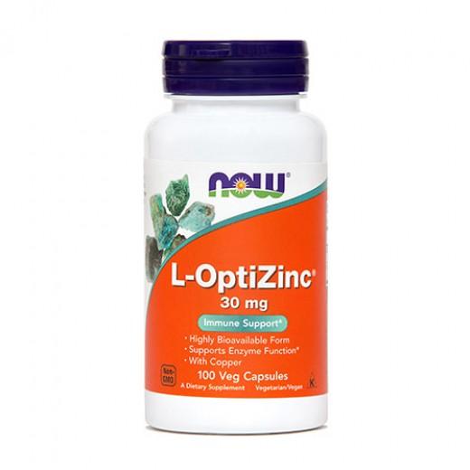 Cink (L-OptiZinc) NOW 30 mg, 100 kapsul