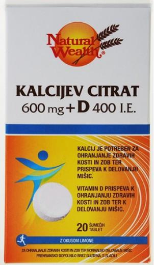 Natural Wealth, kalcijev citrat + D, 600 mg, 20 šumečih tablet