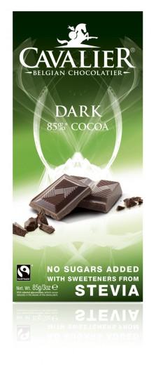 Cavalier 85-odstotna temna čokolada s stevio, 85 g