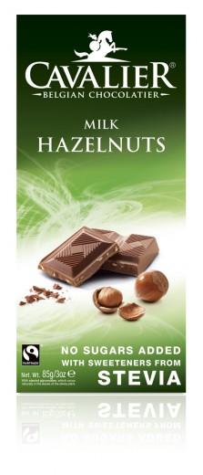 Cavalier mlečna čokolada z lešniki in stevio, 85 g