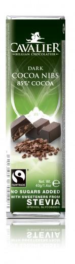 Cavalier 85-odstotna temna čokoladna ploščica z zrni kakava, 40 g