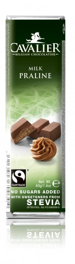 Cavalier mlečna čokoladna ploščica z lešnikovo kremo s stevio, 40 g