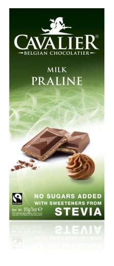 Cavalier mlečna čokolada z lešnikovo kremo s stevio, 85 g
