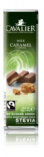 Cavalier mlečna čokoladna ploščica s karamelo in stevio, 40 g
