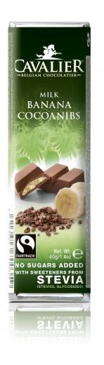 Cavalier mlečna čokoladna ploščica z banano in zrni kakava s stevio, 40 g