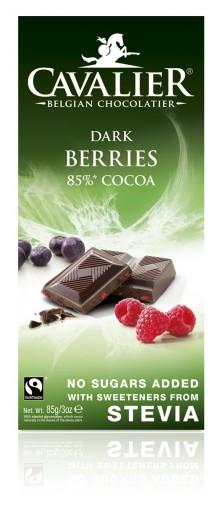 Cavalier 85-odstotna temna čokolada z borovnico, malino, ribezom, 85 g