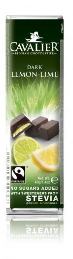 Cavalier 55-odstotna temna čokoladna ploščica z limono, limeto ter stevio, 40 g