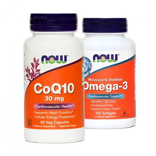 Now, koencim Q10, 30 mg + gratis omega - 3, 1000 mg