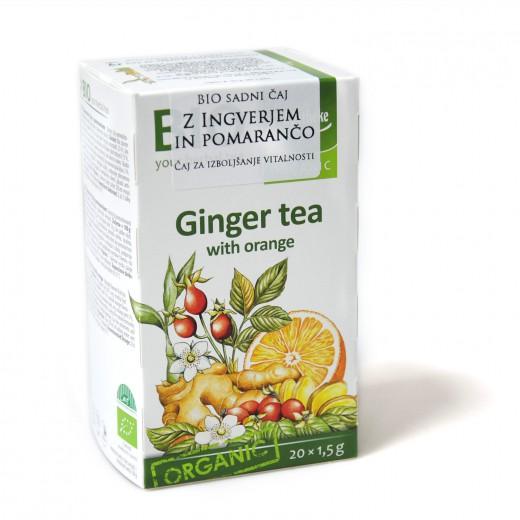 Bio sadni čaj z ingverjem in pomarančo - za izboljšanje vitalnosti, 30 g