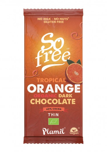 Bio temna čokolada z okusom pomaranče Plamil, 80 g