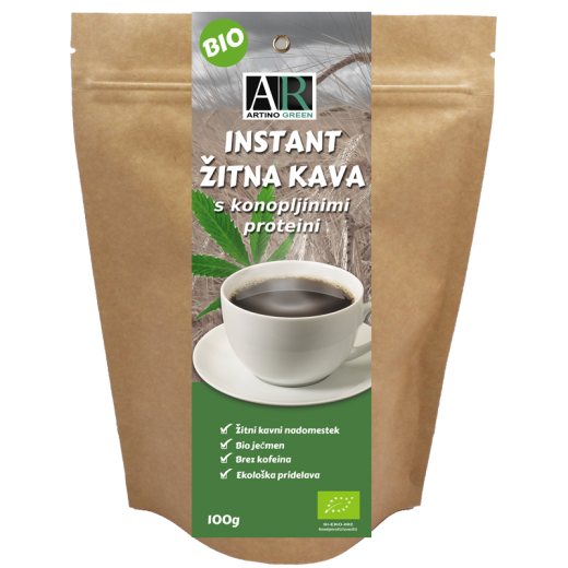 Instant žitna kava s konopljinimi proteini bio Artino Green, 100 g