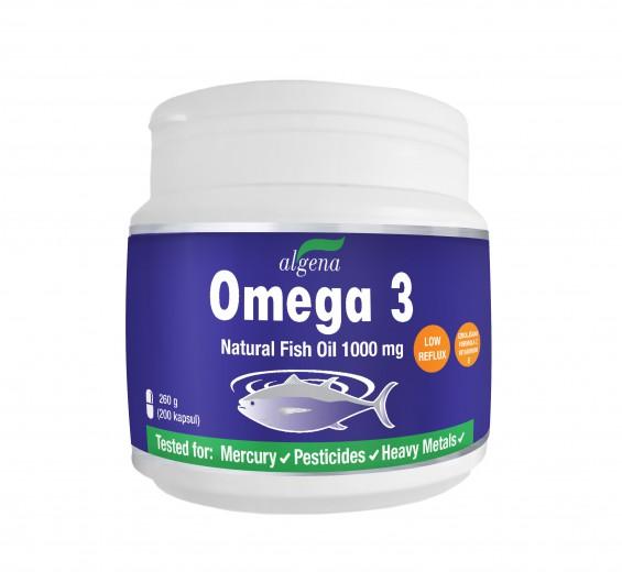 Algena, omega 3 naravno ribje olje z dodanim vitaminom E, 200 kapsul