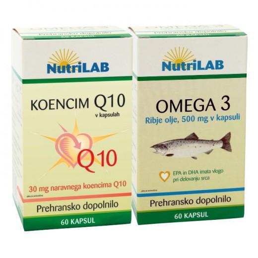 Nutrilab, komplet koencim Q10 + gratis omega 3, 60 kapsul