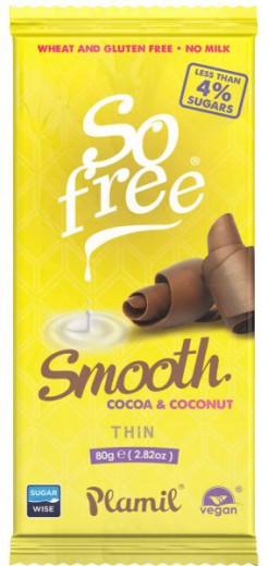 Čokoladna tablica iz kakava in kokosa, brez sladkorja, s ksilitolom, Plamil 80 g