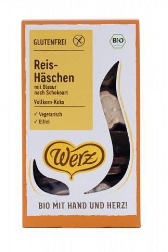 Bio riževi čokoladni zajčki brezglutenski Werz, 125 g