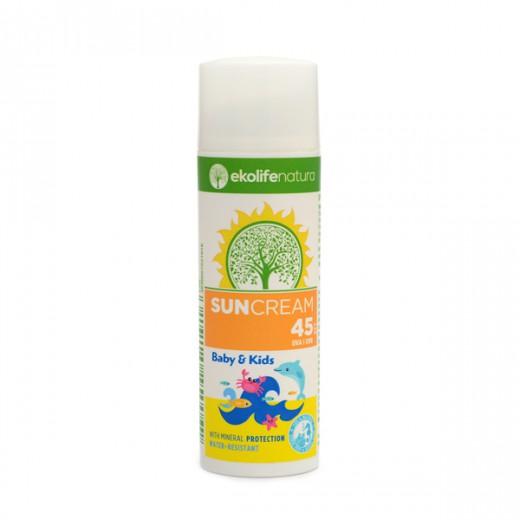 Ekolife natura Sun Cream Kids SPF45 za otroke in dojenčke, 50 ml