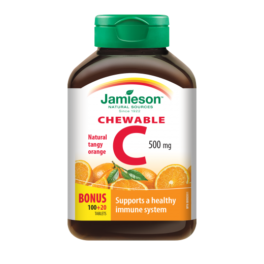 Jamieson, vitamin C žvečljivi bonboni z naravnim okusom pomaranče, 500 mg