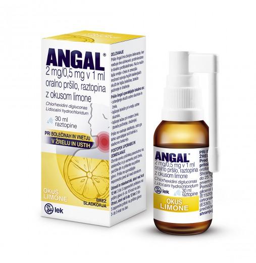 Angal 2 mg/0,5 mg v 1 ml oralno pršilo z okusom limone, raztopina, 30 ml