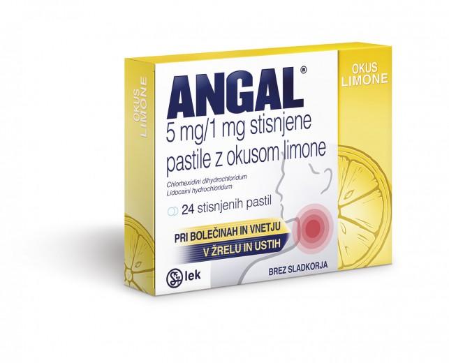 Angal 5 mg/1 mg pastile z okusom limone, 24 pastil