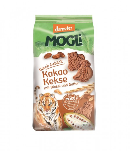 Ekološki keksi tiger s piro, agavinim sirupom in kakavom Mogli, 125 g