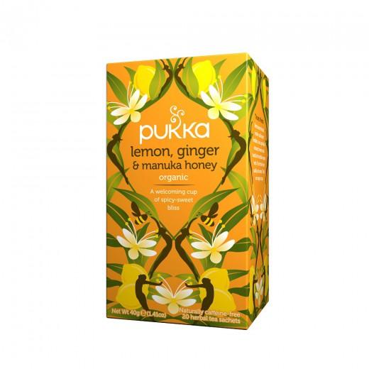 Čaj Limona, ingver in manuka med Pukka, 20 čajnih vrečk