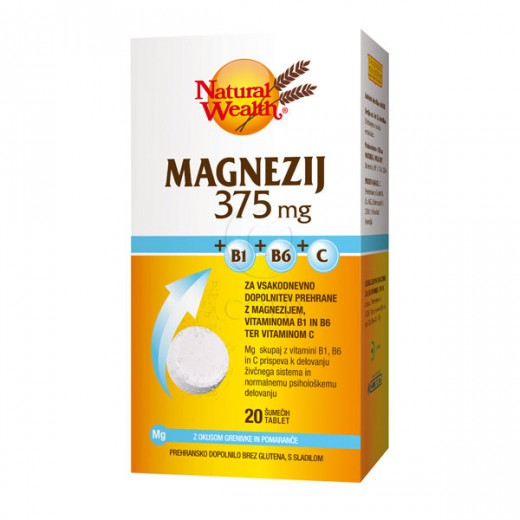 Natural Wealth, magnezij + B1 + B6 + C, 375 mg, 20 šumečih tablet