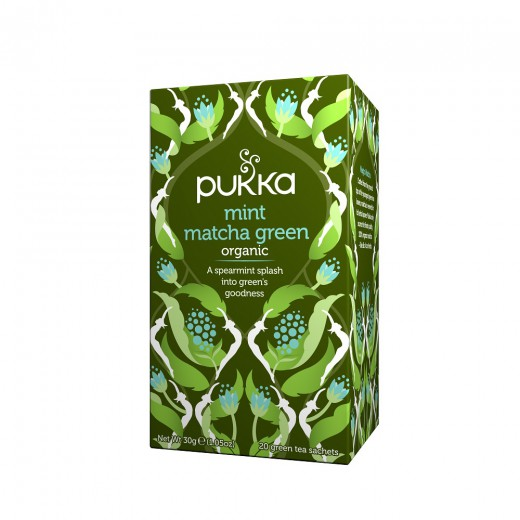 Matcha zeleni čaj z meto Pukka, 20 čajnih vrečk