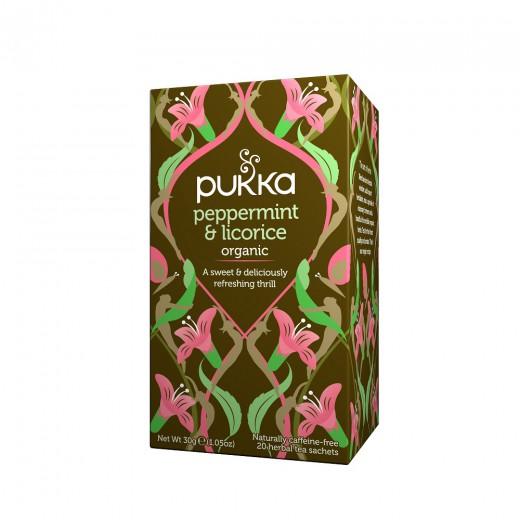 Čaj Poprova meta in sladki koren Pukka, 20 čajnih vrečk