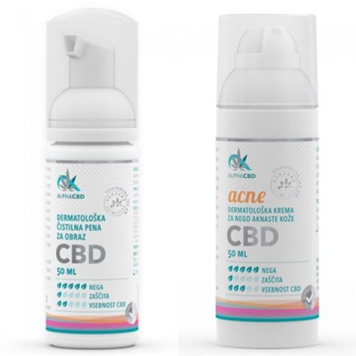 Paket Dermatološka krema Acne Alpha CBD + Derm. čistilna pena Alpha CBD