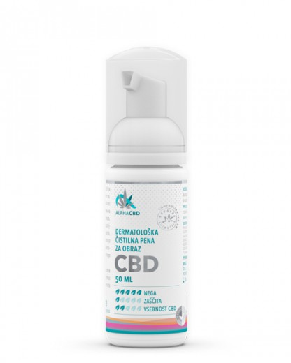 Dermatološka čistilna pena za obraz Alpha CBD, 50 ml