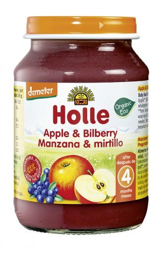 Bio jabolko z borovnicami (demeter) po 4. mesecu Holle, 190 g