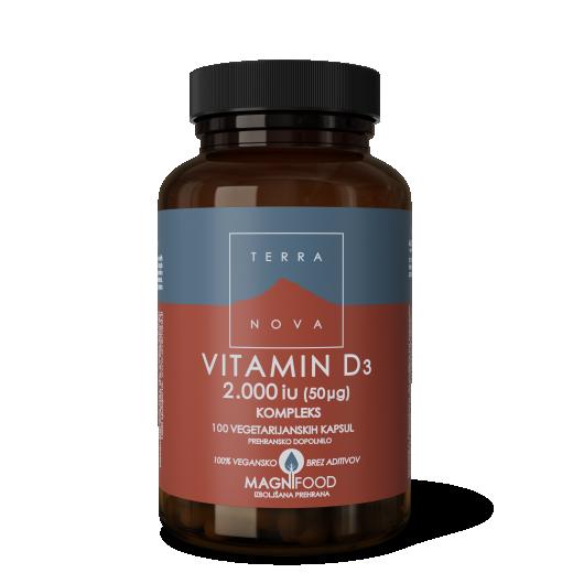 Vitamin D3 2000iu (50µg) kompleks Terranova, 100 kap