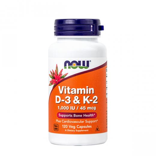 NOW Vitamin D3 & K2 1000 IE, 45 mcg, 120 Vcps
