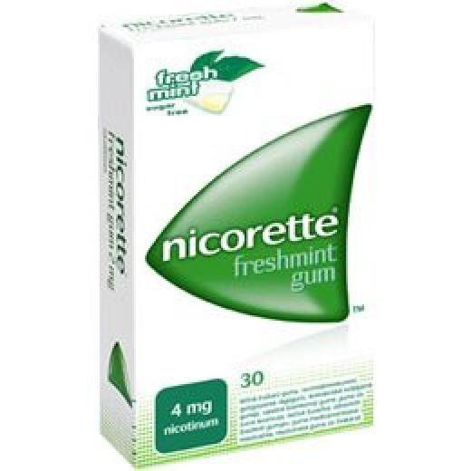 Nicorette Freshmint 4 mg zdravilni žvečilni gumiji, 30 kom